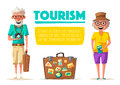 Old couple in travel. Journey of grandparents. Cartoon vector illustration