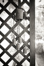 Old cow bell decoration black and white in rural house Stock Images