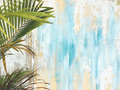 Old Cracked Antique Vintage Historic House Wall and Palm Tree Leaf Branch. Tropical Exotic Thai Summer Tourist Travel Royalty Free Stock Photo