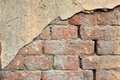 Old cracked concrete vintage plastered brick wall background, Texture terracotta pattern Royalty Free Stock Photo