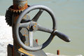 Old crank rusty in harbour Royalty Free Stock Photo