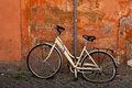 Old crash bicycle like symbol for attention at the street in Rome Royalty Free Stock Photo