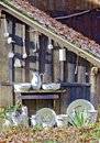 Old crockery at a wooden shelter in the forest bath tatzmannsdorf austria Stock Image