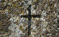 Old cross at grave of 19th century Royalty Free Stock Photo
