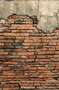 Old crumbling brick wall vertical background Royalty Free Stock Photo