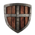 Old crusader wooden shield illustration isolated Royalty Free Stock Photo