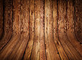 Old curved wooden background grungy interior Stock Images