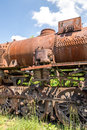Old Czechoslovakian CSD steam engine on graveyard, rusty, boiler detail Royalty Free Stock Photo