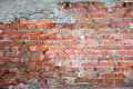 Old damaged brick wall red pattern background closeup details Royalty Free Stock Images