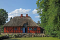 Old danish farm traditional with thatched roof Stock Images