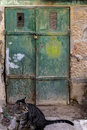 Old Dark green emerald metal dirt door with keyhole and rusty metal lockas a beautiful vintage background Royalty Free Stock Photo