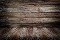 Old dark wood rotten wall and floor texture