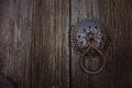 Old dark wooden door with handle Royalty Free Stock Photo