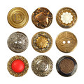 Old decorative button set of sewing buttons isolated on white Stock Photos