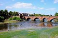 Old dee bridge chester view of along the river cheshire england uk western europe Royalty Free Stock Image