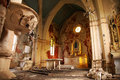 Old, Demolished church – inside, interior. Stock Photo