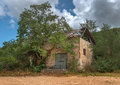 Old derelict house empty ramshackle dilapidated abandoned Stock Images