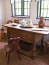 Old desk or table in peasant house Royalty Free Stock Photo