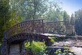 The old destroyed bridge in park Royalty Free Stock Photo
