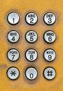 Old dial pad of public telephone box Royalty Free Stock Photo