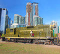 Old diesel locomotive of canadian national with high risers in the background at the railway museum in toronto canada Stock Photos