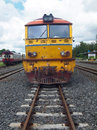 Old diesel locomotive on railway Stock Photo