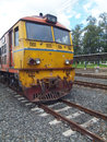 Old diesel locomotive on railway Stock Images