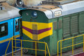 Old diesel locomotive soviet on the railroad Royalty Free Stock Photography