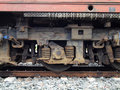 Old diesel locomotive suspension coil of Stock Image
