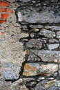 Old, dilapidated brick and stone wall Royalty Free Stock Photo