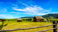 Old dilapidated farm buildings in the Lower Nicola Valley near Merritt British Columbia Royalty Free Stock Photo