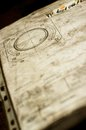 Old and dirty blue prints for industrial manufacturing