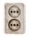 Old dirty electrical outlet Royalty Free Stock Images