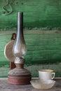 Old dirty kerosene lamp