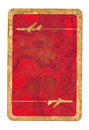 Old dirty used playing card red paper cover background with aircraft sign Stock Photo