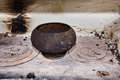 Old dishes on the old furnace. Vintage toning Royalty Free Stock Photo