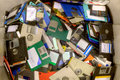 Old diskettes obsolete lying in a heap for plastic recycling Stock Photography