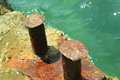 The old docking port of on quay in foros crimea close up Royalty Free Stock Photography