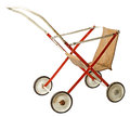 Old doll stroller isolated on white background Royalty Free Stock Photos