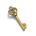Old dollar shape treasure key in gold, in white, 3D ren Royalty Free Stock Photo