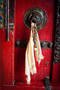Old door at Buddhist monastery Royalty Free Stock Photography