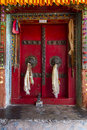 Old door of a buddhist monastery in Ladakh, India Royalty Free Stock Photo