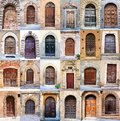 Old door collage of many rustic doors from tuscany italy Royalty Free Stock Photography