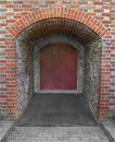 Old door at the end of a brick tunnel wooden an arched entrance Royalty Free Stock Photo