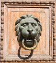 Old door handle close up in moscow russia Royalty Free Stock Photo