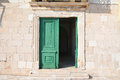 Old door in hvar croatia house entrance with green Royalty Free Stock Photos