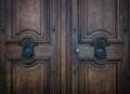 The old door knocker on a wooden door Royalty Free Stock Photo