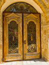 Old door with a lattice wooden and glasses in jaffa israel Stock Image
