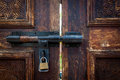 Old door lock with key Royalty Free Stock Image