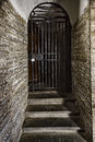Old door made of steel grating in the stone wall Royalty Free Stock Photo